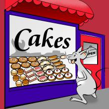 image for this storagesearch.com article shows Megabtyte the mouse standing outside of cake shop
