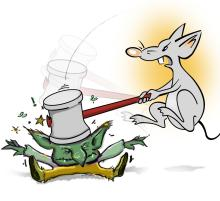 image  for this article shows Megabyte the mouse bashing a goblin with a hammer